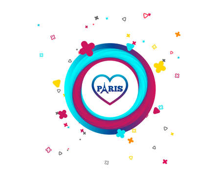 Eiffel tower icon. Paris symbol. Heart sign. Colorful button with icon. Geometric elements. Vector Illustration