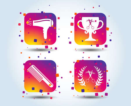 Hairdresser icons. Scissors cut hair symbol. Comb hair with hairdryer symbol. Barbershop laurel wreath winner award. Colour gradient square buttons. Flat design concept. Vector