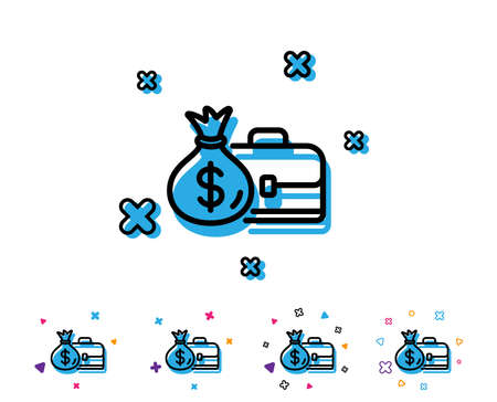 Business case line icon. Portfolio and Salary symbol. Diplomat with Money bag sign. Line icon with geometric elements. Bright colourful design. Vector