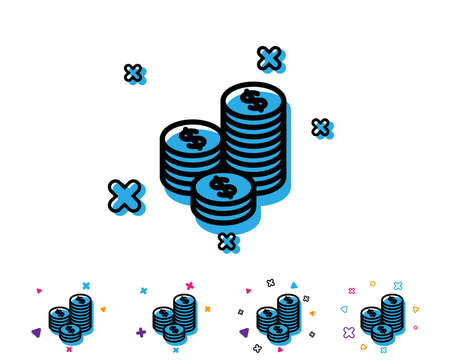 Coins money line icon. Banking currency sign. Cash symbol. Line icon with geometric elements. Bright colourful money design. Vector