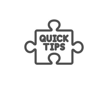 Quick tips puzzle line icon. Helpful tricks sign. Quality design element. Classic style. Editable stroke. Vector