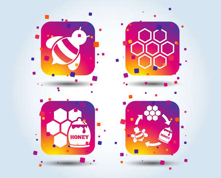Honey icon. Honeycomb cells with bees symbol. Sweet natural food signs. Colour gradient square buttons. Flat design concept. Vector 向量圖像