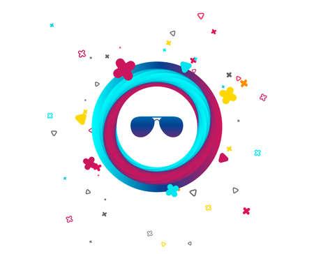 Aviator sunglasses sign icon. Pilot glasses button. Colorful button with icon. Geometric elements. Vector