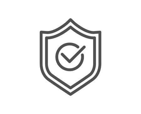 Approved shield line icon. Accepted or confirmed sign. Protection symbol. Quality design element. Classic style. Editable stroke. Vector