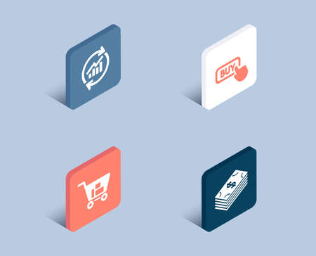 Set of Update data, Internet shopping and Buy button icons. Dollar sign. Sales statistics, Cart with purchases, Online shopping. Usd currency.  3d isometric buttons. Flat design concept. Vector