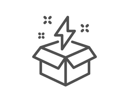 Out of the box line icon. Creativity sign. Gift box with lightning bolt symbol. Quality design element. Classic style. Editable stroke. Vector Illustration
