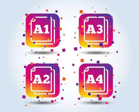 Paper size standard icons. Document symbols. A1, A2, A3 and A4 page signs. Colour gradient square buttons. Flat design concept. Vector Ilustração