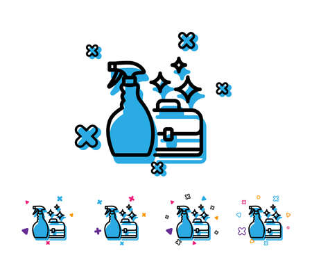 Cleaning spray line icon. Washing liquid or Cleanser symbol. Housekeeping service sign. Line icon with geometric elements. Bright colourful design. Vector