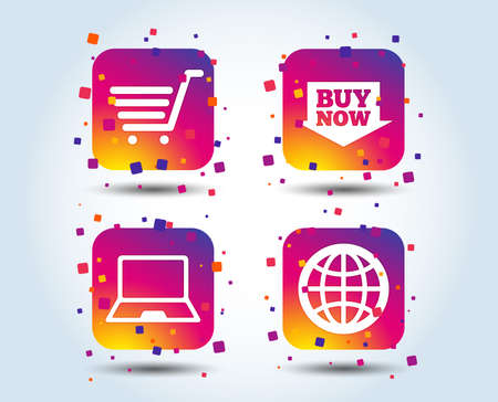 Online shopping icons. Notebook pc, shopping cart, buy now arrow and internet signs. WWW globe symbol. Colour gradient square buttons. Flat design shopping concept. Vector