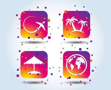 Travel trip icon. Airplane, world globe symbols. Palm tree and Beach umbrella signs. Colour gradient square buttons. Flat design concept. Vector  イラスト・ベクター素材