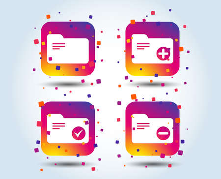 Accounting binders icons. Add or remove document folder symbol. Bookkeeping management with checkbox. Colour gradient square buttons. Flat design concept. Vector