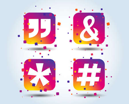 Quote, asterisk footnote icons. Hashtag social media and ampersand symbols. Programming logical operator AND sign. Colour gradient square buttons. Flat design concept. Vector