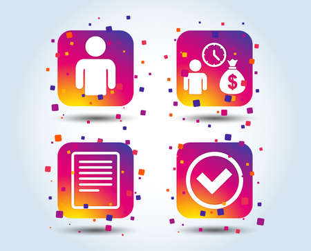 Bank loans icons. Cash money bag symbol. Apply for credit sign. Check or Tick mark. Colour gradient square buttons. Flat design concept. Vector