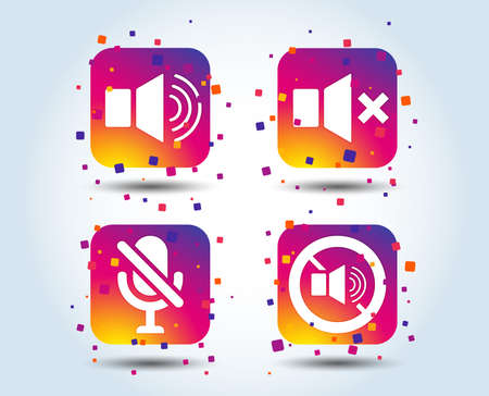 Player control icons. Sound, microphone and mute speaker signs. No sound symbol. Colour gradient square buttons. Flat design concept. Vector