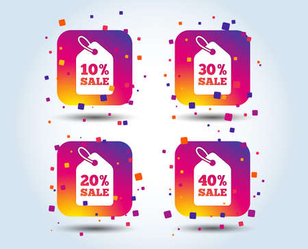 Sale price tag icons. Discount special offer symbols. 10%, 20%, 30% and 40% percent sale signs. Colour gradient square buttons. Flat design concept. Vector