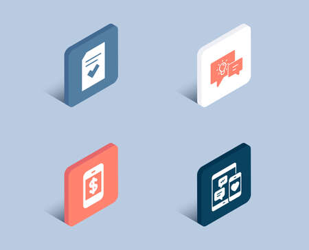 Set of Idea lamp, Smartphone payment and Checked file icons. Social media sign. Business energy, Mobile pay, Correct document. Mobile devices.  3d isometric buttons. Flat design concept. Vector