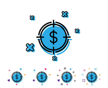 Target with Dollar line icon. Aim symbol. Cash or Money sign. Line icon with geometric elements. Bright colourful design. Vector Illusztráció