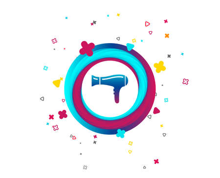 Hairdryer sign icon. Hair drying symbol. Colorful button with icon. Geometric elements. Vector