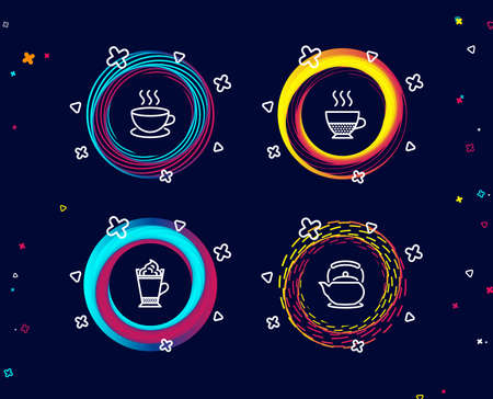 Set of Cappuccino, Latte coffee and Doppio icons. Teapot sign. Espresso cup, Hot drink with whipped cream, Coffee drink. Tea kettle.  Circle banners with line icons. Gradient colors shapes. Vector Ilustração