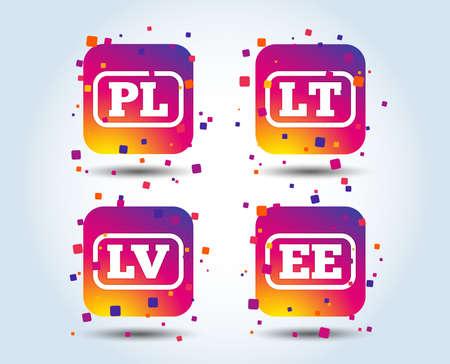 Language icons. PL, LV, LT and EE translation symbols. Poland, Latvia, Lithuania and Estonia languages. Colour gradient square buttons. Flat design concept. Vector