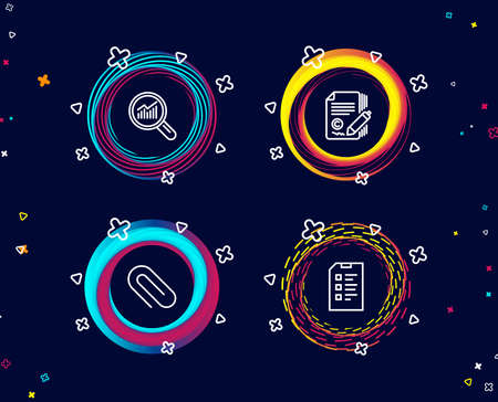 Set of Paper clip, Copywriting and Data analysis icons. Checklist sign. Attach paperclip, Ð¡opyright signature, Magnifying glass. Data list.  Circle banners with line icons. Gradient colors shapes