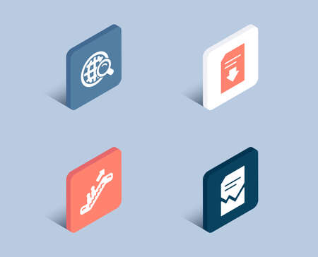 Set of Internet search, Escalator and Download file icons. Corrupted file sign. Web finder, Elevator, Load document. Damaged document.  3d isometric buttons. Flat design concept. Vector Illusztráció