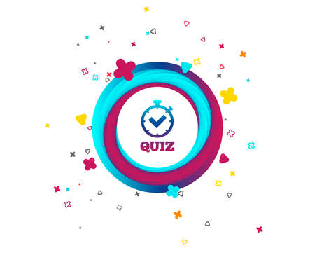 Quiz timer sign icon. Questions and answers game symbol. Colorful button with icon. Geometric elements. Vector