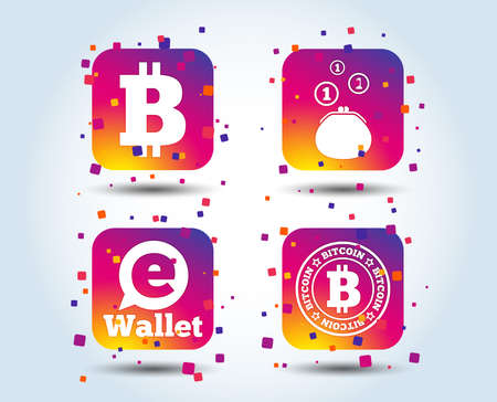 Bitcoin icons. Electronic wallet sign. Cash money symbol. Colour gradient square buttons. Flat design concept. Vector