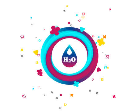 H2O Water drop sign icon. Tear symbol. Colorful button with icon. Geometric elements. Vector Illustration