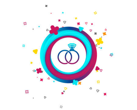 Wedding rings sign icon. Engagement symbol. Colorful button with icon. Geometric elements. Vector