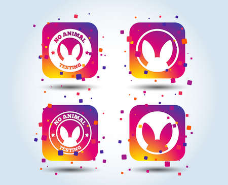 No animals testing icons. Non-human experiments signs symbols. Colour gradient square buttons. Flat design concept. Vector