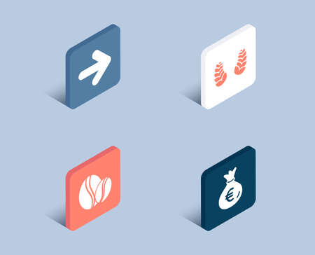 Set of Next, Laurel wreath and Coffee beans icons. Money bag sign. Forward, Laureate reward, Whole bean. Euro currency. 3d isometric buttons. Flat design concept. Vector
