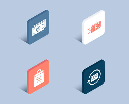 Set of Banking, Shopping bag and Money transfer icons. Refund commission sign. Money payment, Supermarket discounts, Cash delivery. Cashback card.  3d isometric buttons. Flat design concept. Vector