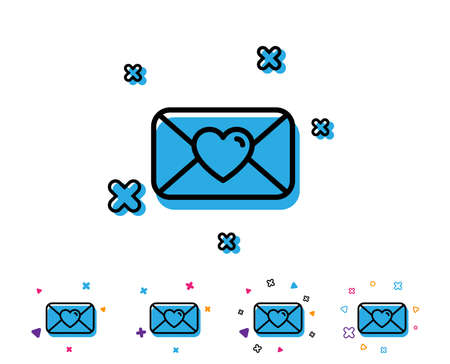 Valentines day mail line icon. Love letter symbol. Heart sign. Line icon with geometric elements. Bright colourful design. Vector Illustration