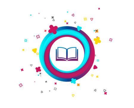 Book sign icon. Open book symbol. Colorful button with icon. Geometric elements. Vector