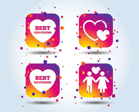 Valentine day love icons. Best girlfriend and boyfriend symbol. Couple lovers sign. Colour gradient square buttons. Flat design concept. Vector Illustration