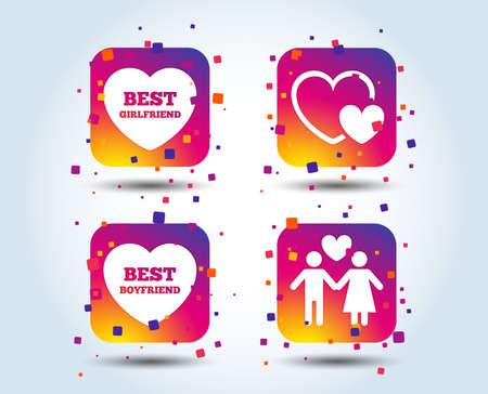 Valentine day love icons. Best girlfriend and boyfriend symbol. Couple lovers sign. Colour gradient square buttons. Flat design concept. Vector Illusztráció