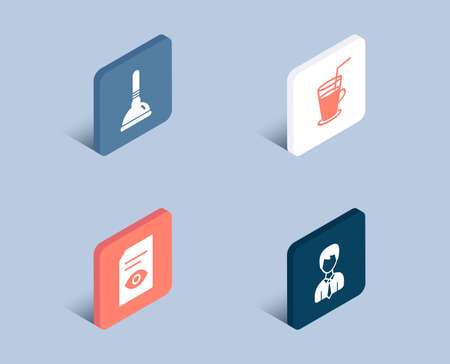 Set of Plunger, View document and Cocktail icons. Businessman sign. Clogged pipes cleaner, Open file, Fresh beverage. User data.  3d isometric buttons. Flat design concept. Vector