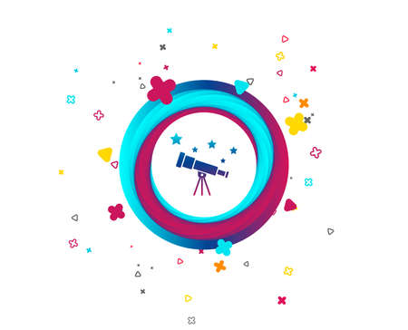 Telescope with stars icon. Spyglass tool symbol. Colorful button with icon. Geometric elements. Vector Ilustração