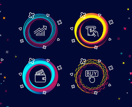 Set of Demand curve, Atm service and Debit card icons. Buying sign. Statistical report, Cash investment, Wallet with credit card. E-commerce shopping.  Circle banners with line icons. Vector