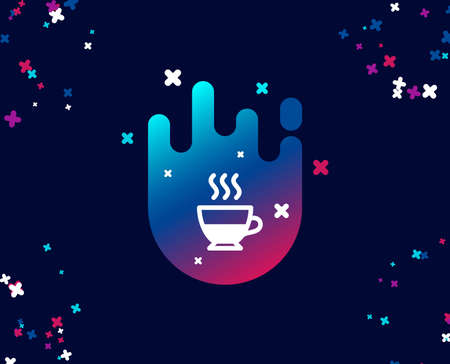 Doppio coffee icon. Hot drink sign. Beverage symbol. Cool banner with icon. Abstract shape with gradient. Vector