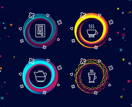 Set of Milk jug, Coffee vending and Espresso icons. Latte sign. Fresh drink, Coffee vending machine, Hot drink. Tea glass mug.  Circle banners with line icons. Gradient colors shapes. Vector