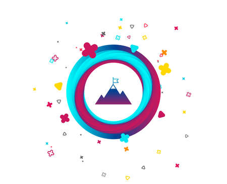 Flag on mountain icon. Leadership motivation sign. Mountaineering symbol. Colorful button with icon. Geometric elements. Vector
