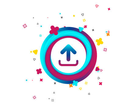 Upload sign icon. Load data symbol. Colorful button with icon. Geometric elements. Vector Ilustrace