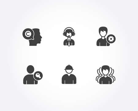 Set of Writer, Support and Shipping support icons. Engineer, Find user and Group signs. Copyrighter, Edit profile, Delivery manager. Worker profile, Search person, Headhunting service. Vector