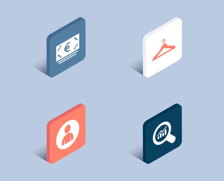 Set of Euro currency, Avatar and Cloakroom icons. Data analysis sign. Eur banking, User profile, Hanger wardrobe. Magnifying glass.  3d isometric buttons. Flat design concept. Vector