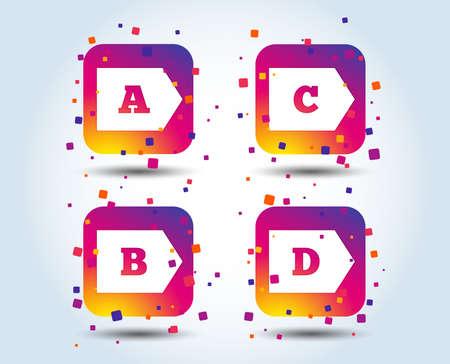Icônes de classe d'efficacité énergétique. Symboles de signe de consommation d'énergie. Classe A, B, C et D. Boutons carrés dégradés de couleur. Concept de design plat. Vecteur Vecteurs