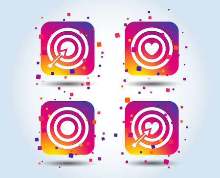 Target aim icons. Darts board with heart and arrow signs symbols. Colour gradient square buttons. Flat design concept. Vector Иллюстрация