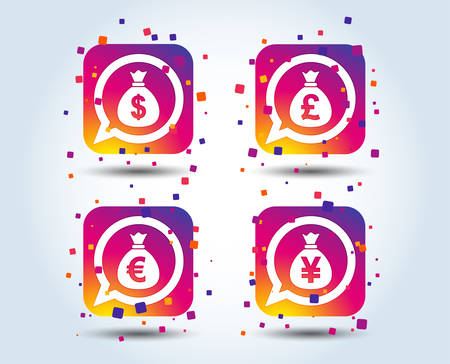 Money bag icons. Dollar, Euro, Pound and Yen speech bubbles symbols. USD, EUR, GBP and JPY currency signs. Colour gradient square buttons. Flat design concept. Vector