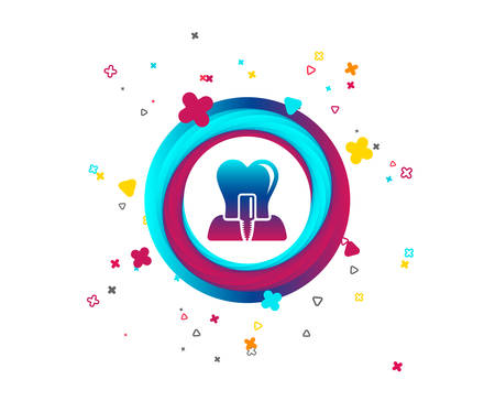 Tooth implant icon. Dental endosseous implant sign. Dental care symbol. Colorful button with icon. Geometric elements. Vector